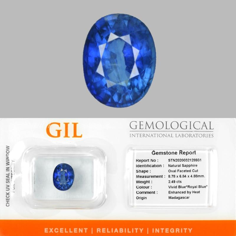 2.49 Cts GIL Certified Natural Vivid Blue *ROYAL BLUE* Sapphire Loose Gemst
