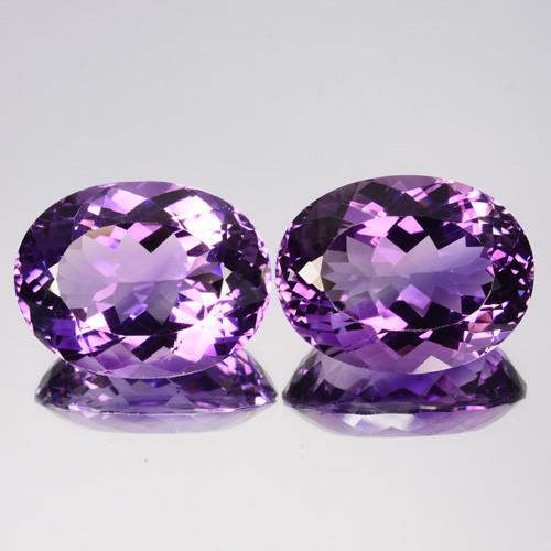 34.70Cts Natural Purple Amethyst Oval PAIR Brazil Gem