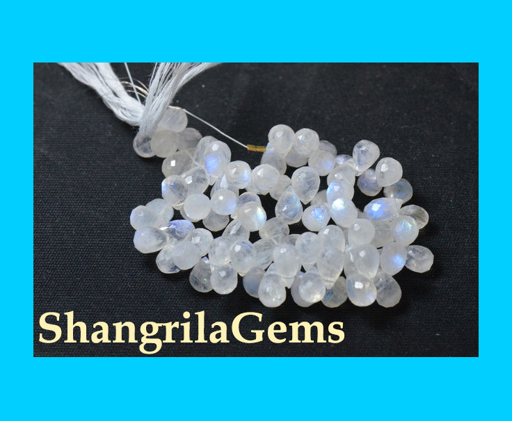 20 11-15.5mm Rainbow Moonstone faceted briolettes