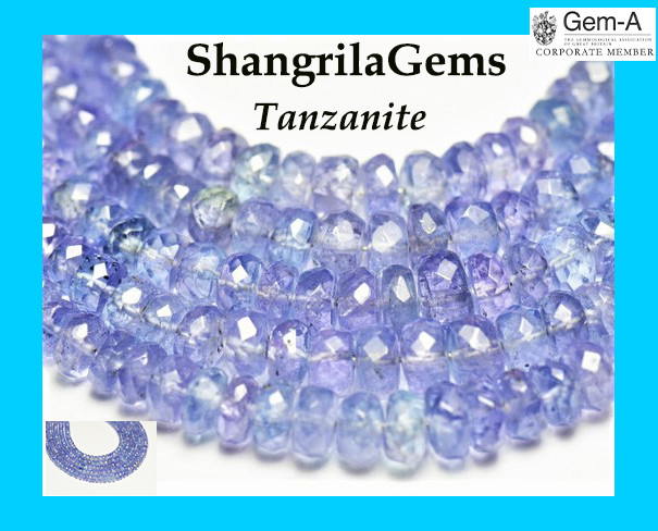 16 inch line 2.5mm to 4mm TANZANITE blue purple faceted beads