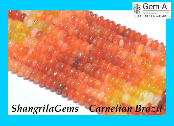 16inch line of 6mm carnilian beads