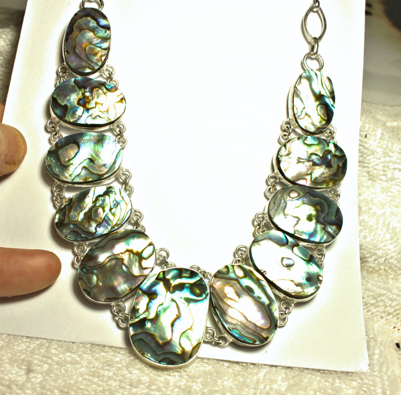 600.0 Tcw. Abalone, Sterling Silver Necklace - Gorgeous