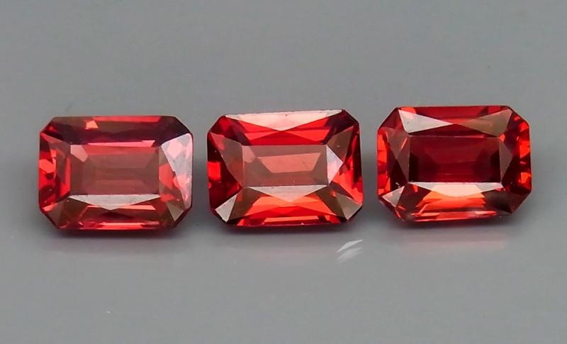 5.26 ct. Natural Hot Red Rhodolite Garnet Africa - 3  Pcs
