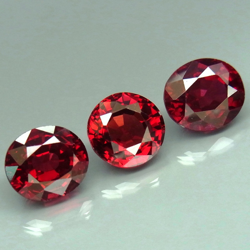 6.98  ct.  Natural Earth Mined  Red Rhodolite Garnet Africa - 3 Pcs