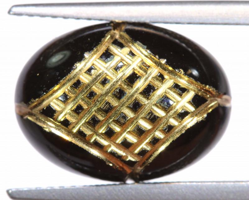 8 CTS  BLACK ONYX 24K GOLD ENGRAVED   LG-544