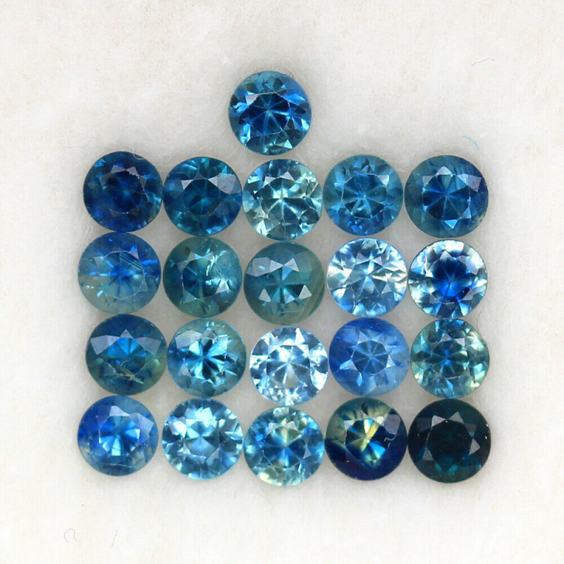 4.05 ct. 3.4-3.5 MM. NATURAL GEMSTONE MULTI COLOR SAPPHIRE DIAMOND CUT 21PC