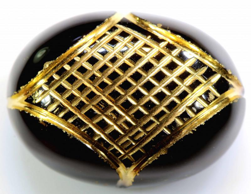 18.4 CTS BLACK ONYX   24K GOLD ENGRAVED  LG-640