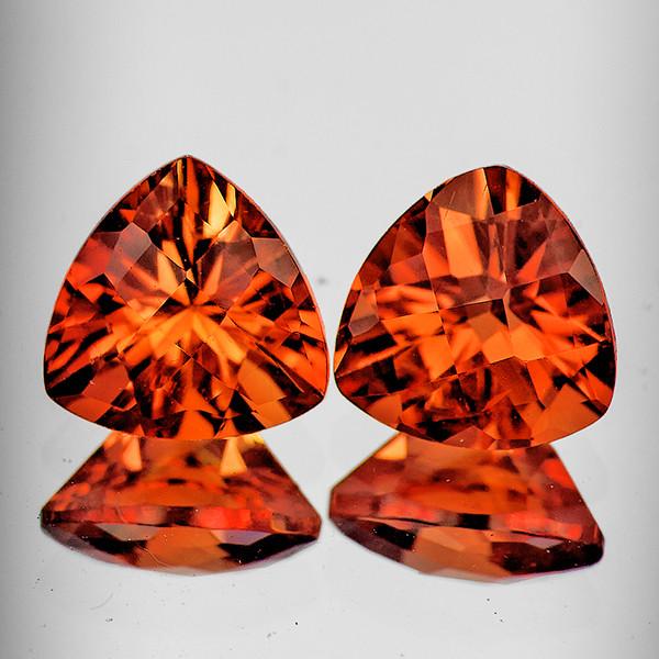 6.00 mm Trillion Checker 2pcs 1.46cts Red-Orange Andesine [VVS]