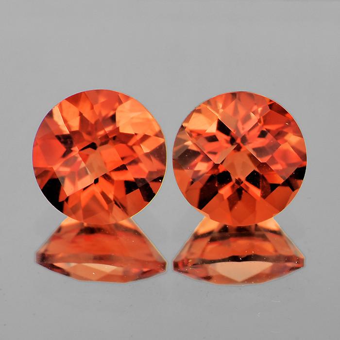 6.00 mm Round Checker 2 pcs 1.65cts Red-Orange Andesine [VVS]
