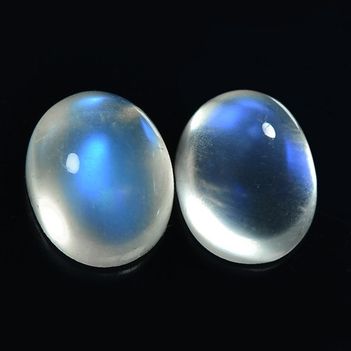 8.82 Cts 2Pcs Pair Un Heated Rainbow Color 11x9mm Natural Moon stone