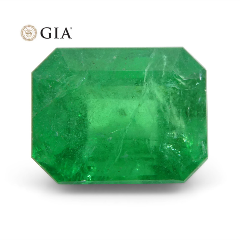 2.46 ct Octagonal/Emerald Cut Emerald GIA Certified