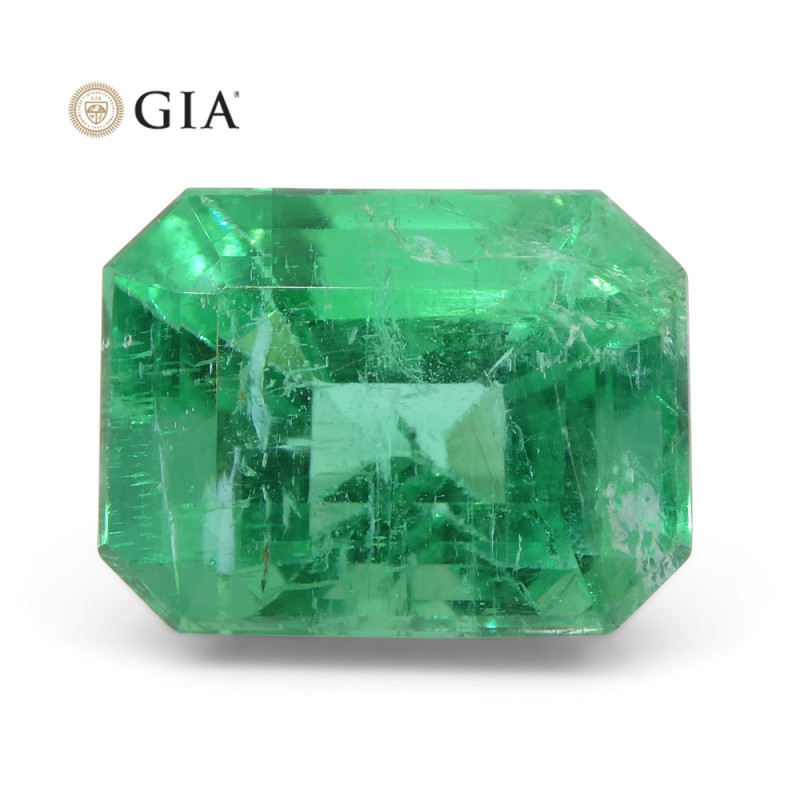 3.73 ct Octagonal/Emerald Cut Emerald GIA Certified F1/Minor