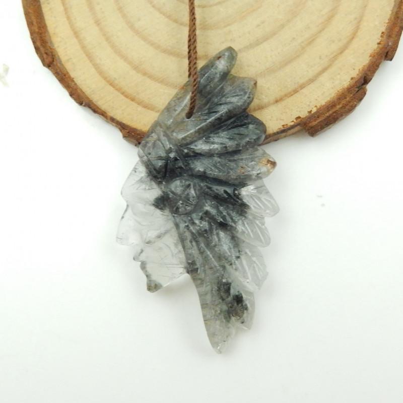 38cts Carved Natural Quartz Gemstone Indian Head Pendant G105