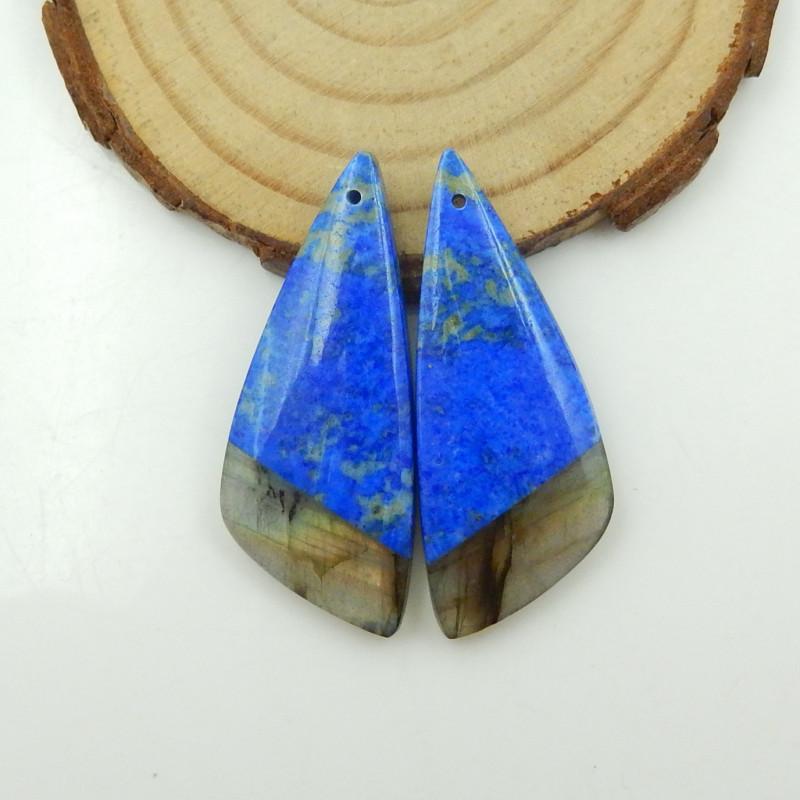 55.5cts Natural Lapis, Labradorite Intarsia Earrings G126
