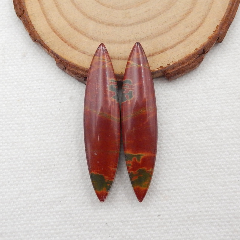 39.5cts Multi color jasper, opalite intarsia earrings G134