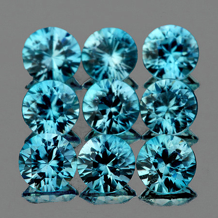 3.80 mm Round 9 pcs 2.94cts Blue Zircon [VVS]