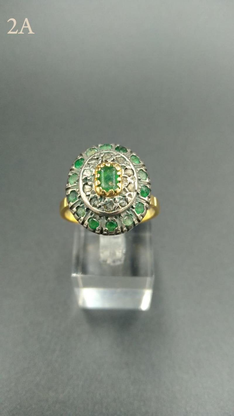 Emerald & Diamond Ring 18ct Gold