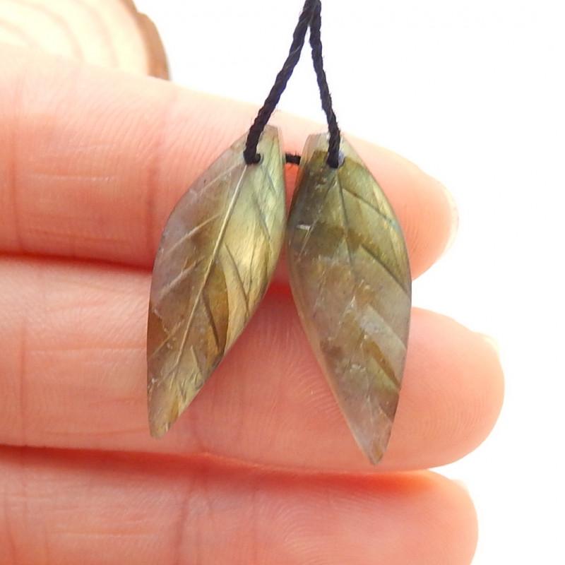 12ct Beautiful labradorite carved leave earrings semi-precious stones G157