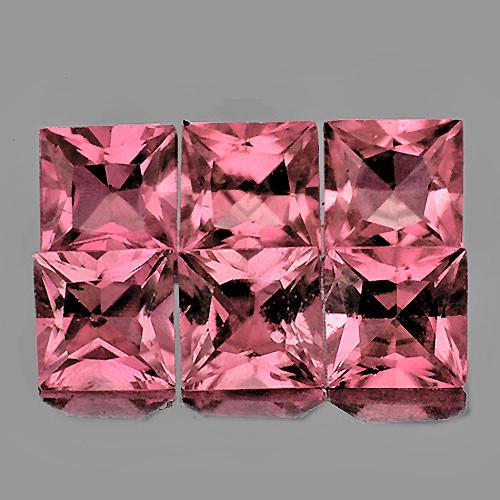 3.50 mm Square Princess 6 pcs 1.32cts Orange Pink Tourmaline [VVS]