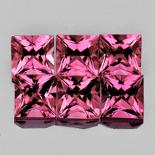 3.50 mm Square Princess 6 pcs 1.49cts Pink Tourmaline [VVS]