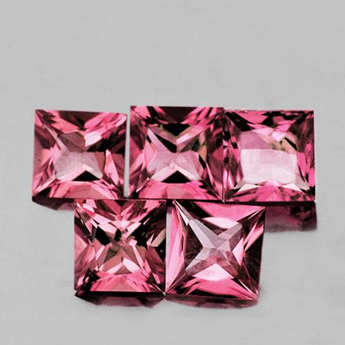 4.00 mm Square Princess 5 pcs 1.65cts Pink Tourmaline [VVS]