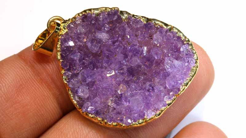 53CTS AMETHYST CRYSTAL GOLD PLATED PENDANT SG-3472