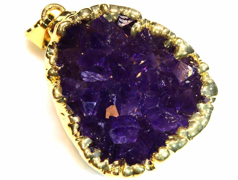 64CTS AMETHYST CRYSTAL GOLD PLATED PENDANT SG-3479