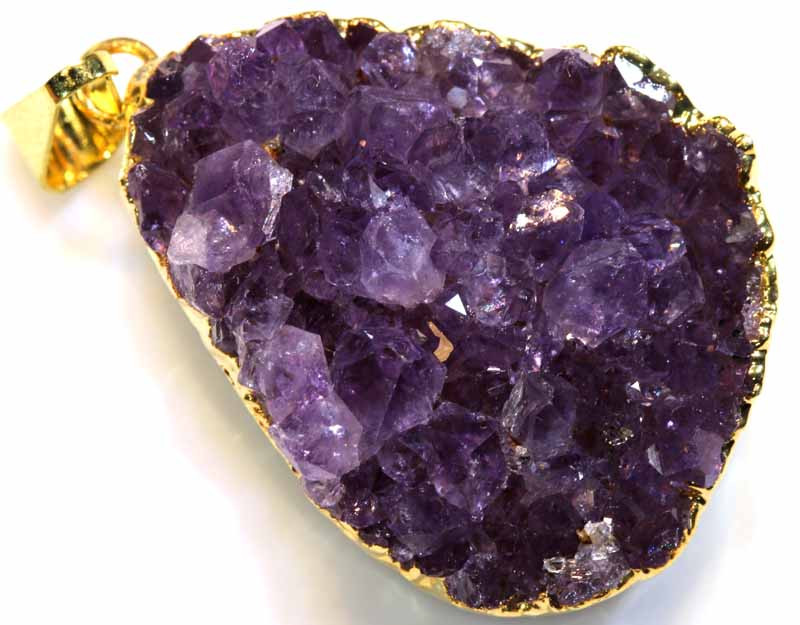 52CTS AMETHYST CRYSTAL GOLD PLATED PENDANT SG-3484