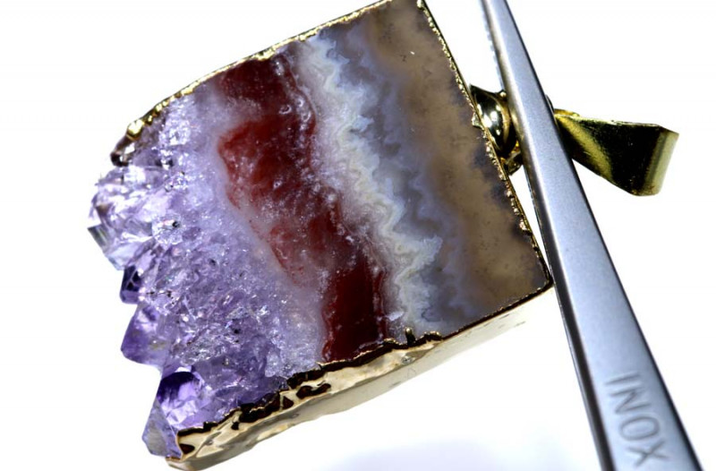 40 CTS AMETHYST CRYSTAL GOLD PLATED PENDANT SG-3494