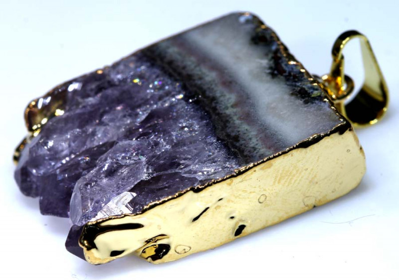 49.50 CTS AMETHYST CRYSTAL GOLD PLATED PENDANT SG-3511