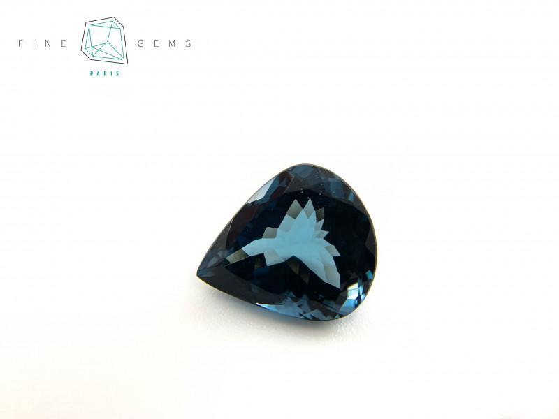 17.34 carats London Blue Topaz Pear cut