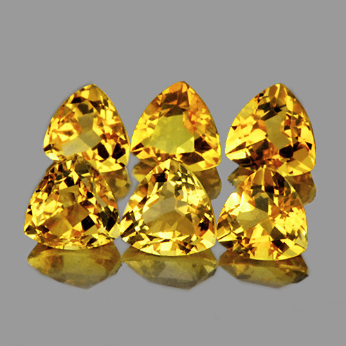 6.00 mm Trillion 6 pcs 3.57cts Yellow Citrine [VVS]
