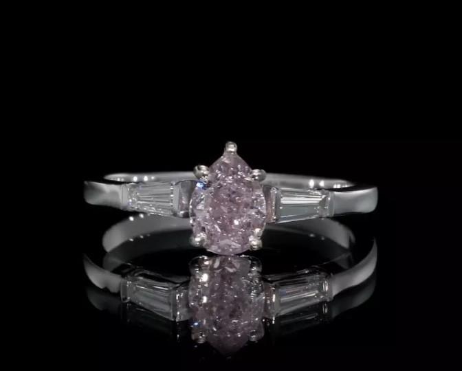 GIA Certificate Pear Shape 1.01 carat Fancy Purple Pink Diamond Engagement
