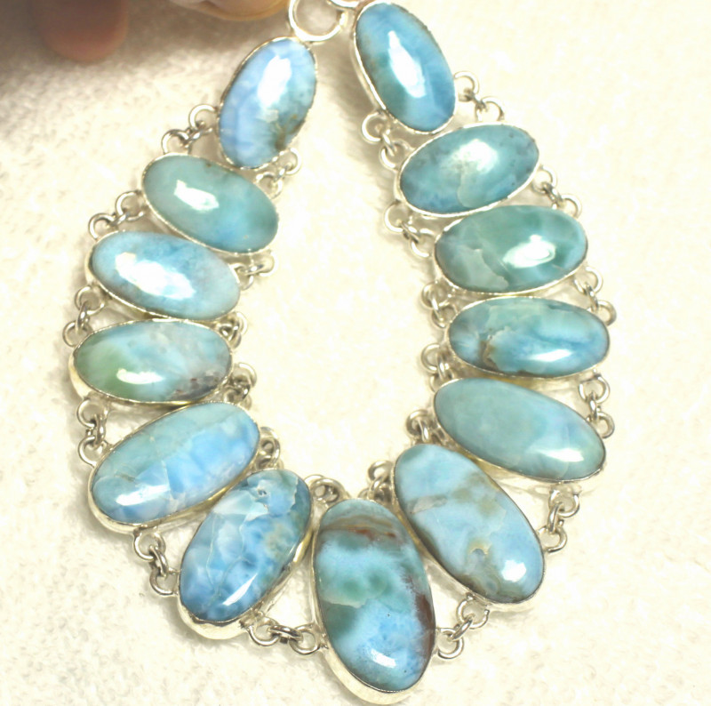482.0 Natural Larimar, Sterling Silver Necklace - Gorgeous
