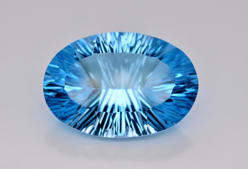 Amazing Laser Cut 63.30 Ct Natural Swiss Blue Color Topaz