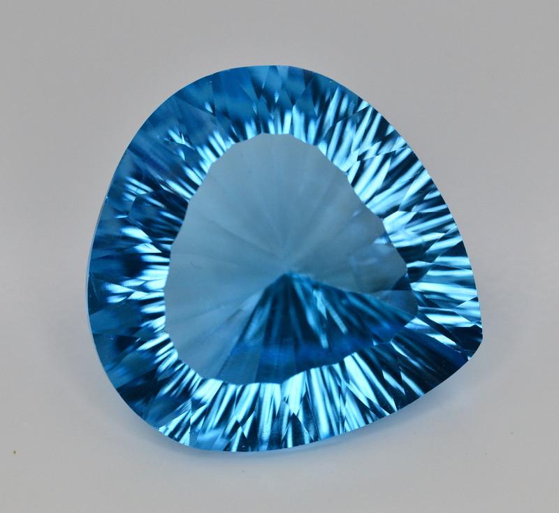 Amazing Laser Cut 48.55 Ct Natural Swiss Blue Color Topaz
