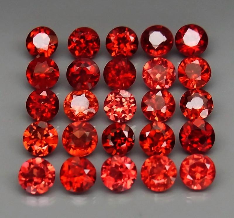 7.33  ct. Natural Hot Red Rhodolite Garnet Africa - 25 Pcs