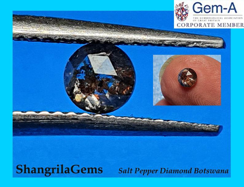 4.5mm 0.46ct Salt Pepper BROWNISH rose cut diamond 4.5 by 2.5
