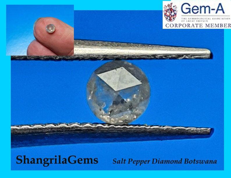 4.55mm 0.53ct White Salt Pepper rose cut diamond 4.55 by 2.7mm