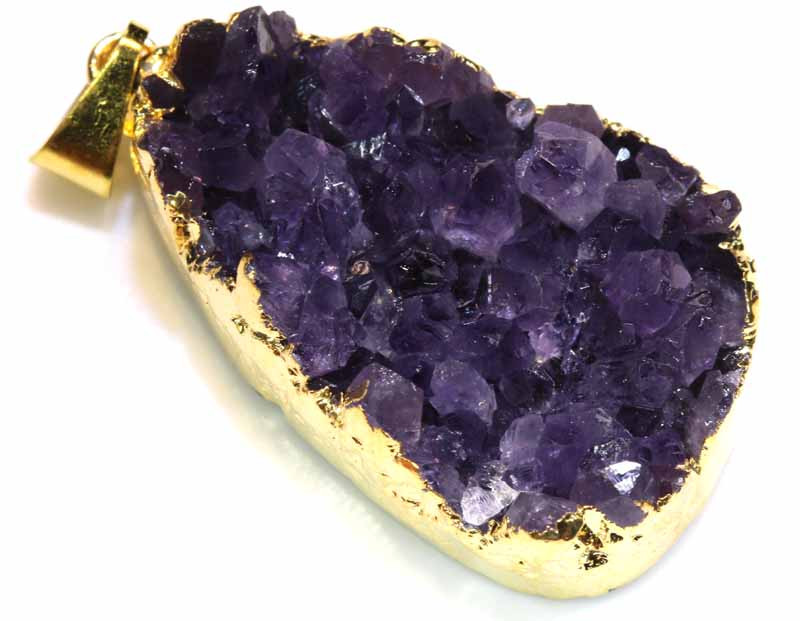 57.60 CTS AMETHYST CRYSTAL GOLD PLATED PENDANT SG-3545