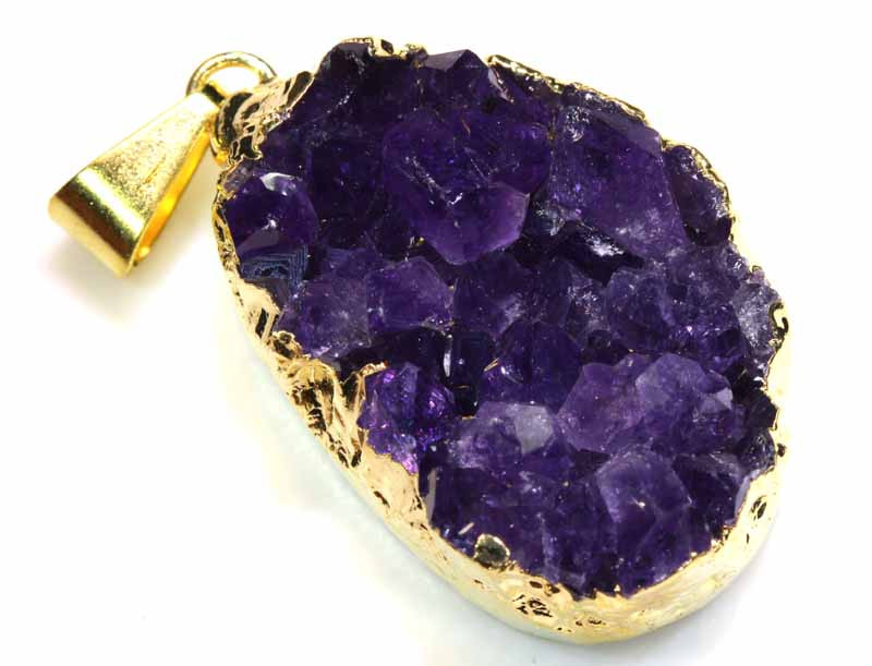 41.70 CTS AMETHYST CRYSTAL GOLD PLATED PENDANT SG-3546