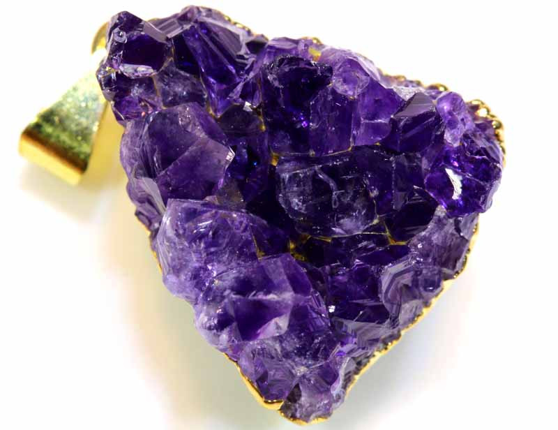 52 CTS AMETHYST CRYSTAL GOLD PLATED PENDANT SG-3549