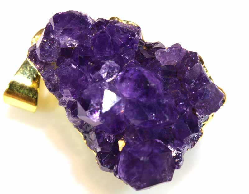 40.40 CTS AMETHYST CRYSTAL GOLD PLATED PENDANT SG-3550