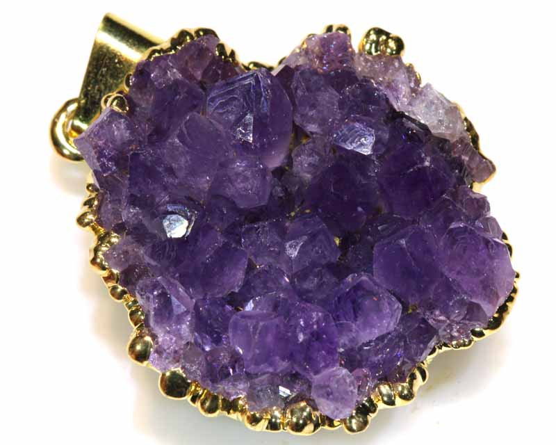 54.15 CTS AMETHYST CRYSTAL GOLD PLATED PENDANT SG-3557
