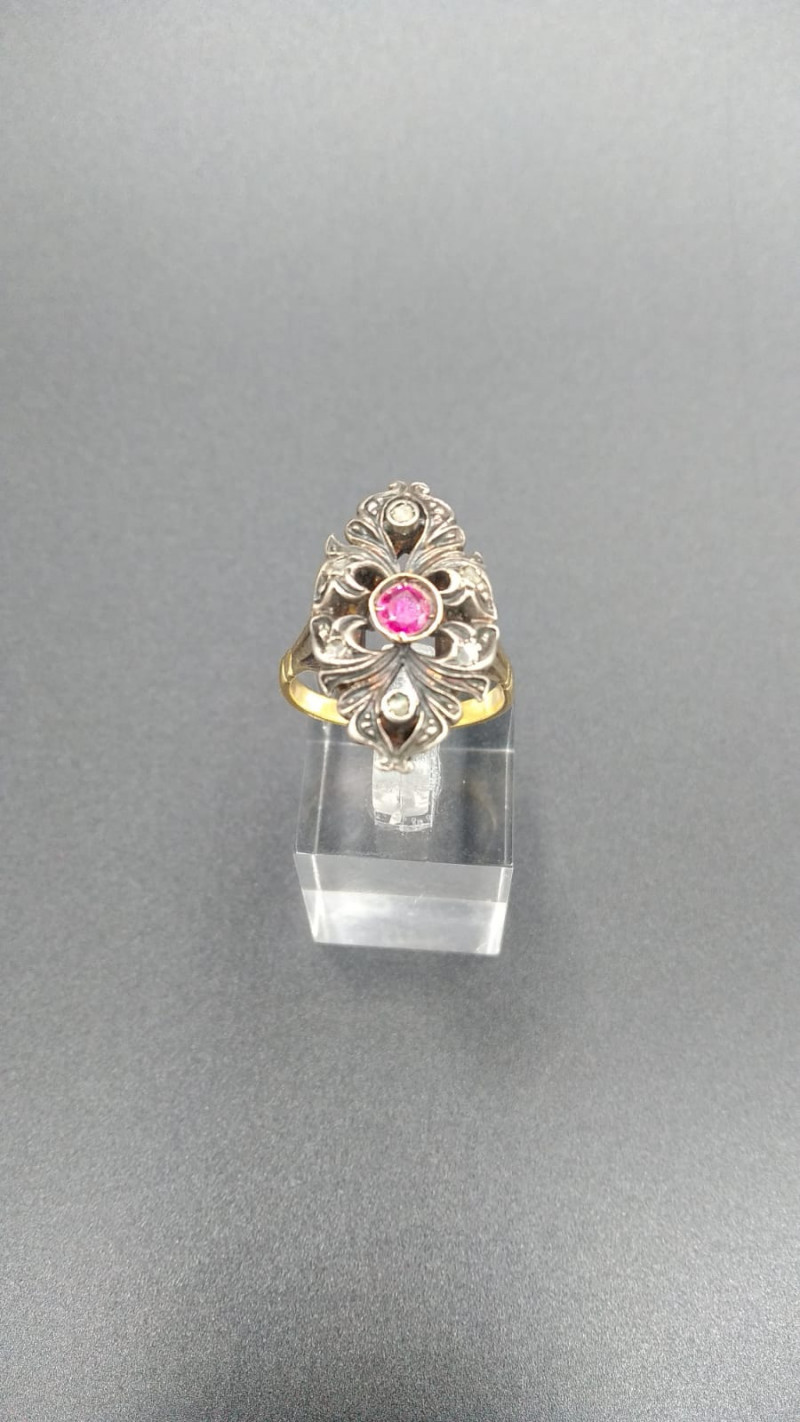 Antique Marquise Ruby Gold  Ring