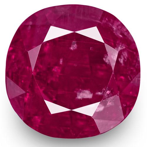 GRS Certified Burma Ruby, 5.75 Carats, Rich Pinkish Red Cushion