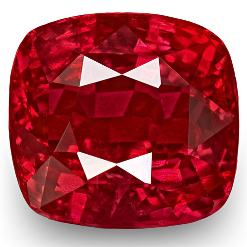 GRS Certified Mozambique Ruby, 3.59 Carats, Fiery Vivid Neon Red Cushion