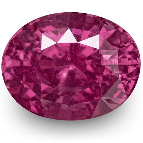 IGI Certified Madagascar Ruby, 4.06 Carats, Vivid Purple-Pink Red Oval