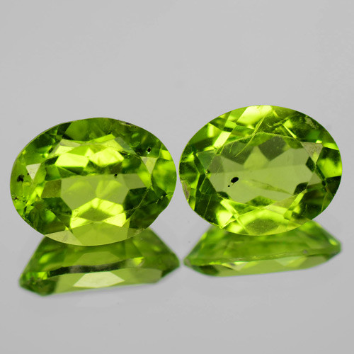 3.74 Cts Amazing Rare Fancy Green Natural Peridot Gemstone Pairs