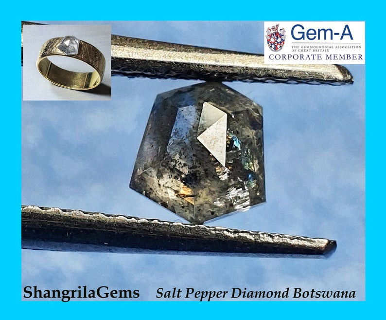 0.86ct 5.7mm Salt and Pepper shield Diamond
